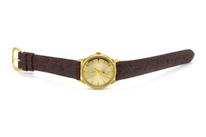 Vintage Gold-Plated Bulova Automatic Watch on Brown Leather Strap #H394387