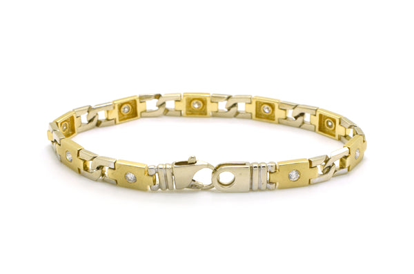 Men's 14k White & Yellow Gold Diamond Link Bracelet - 1.00 ct. total - 8.25 in.