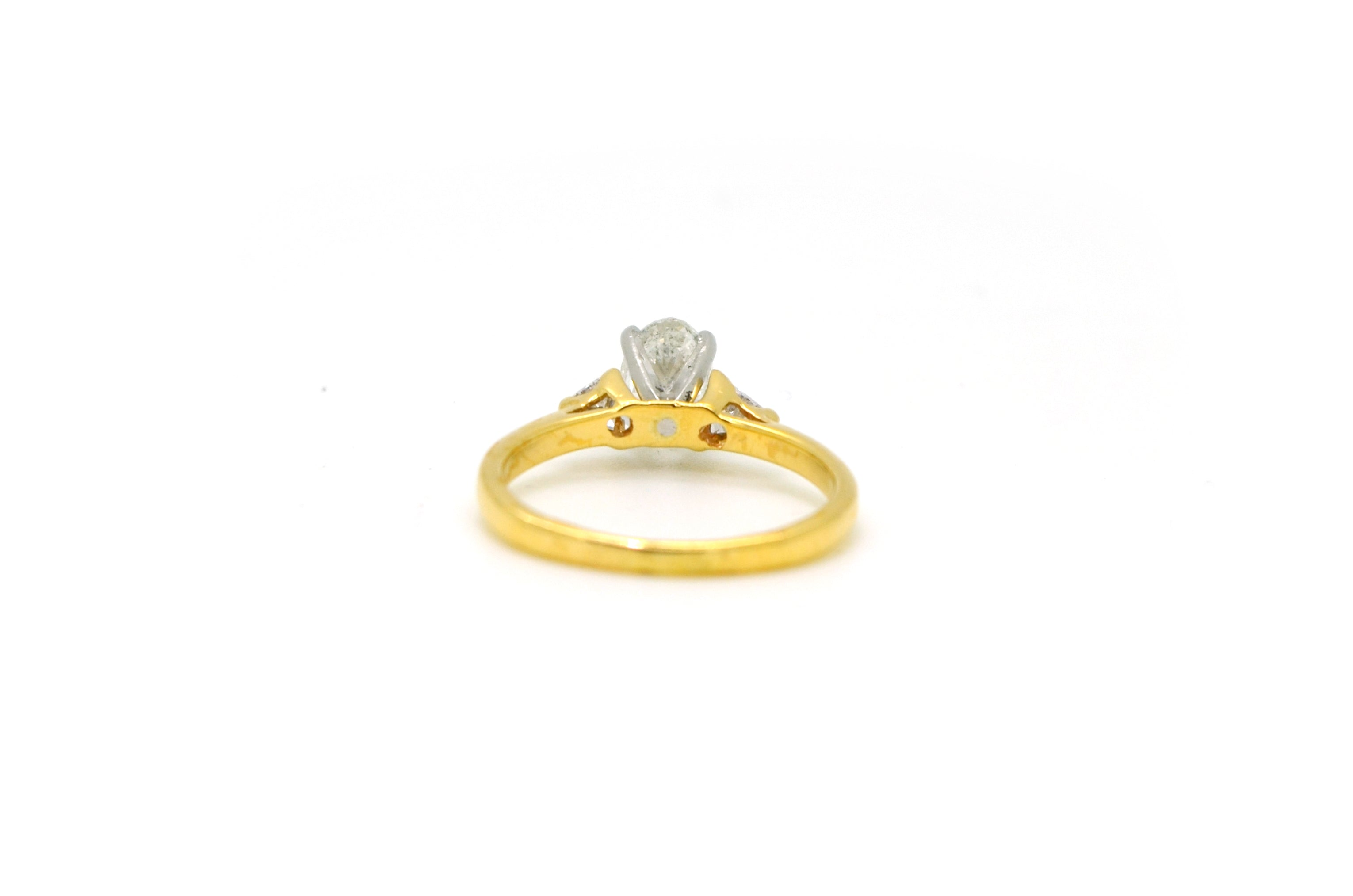 14k Yellow & White Gold Oval Diamond Engagement Ring - .80 ct. total - Size 5.75
