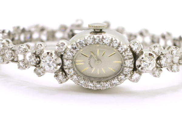 Vintage Ladies 14k White Gold Hamilton Watch with Diamonds - 2.50 ct. total