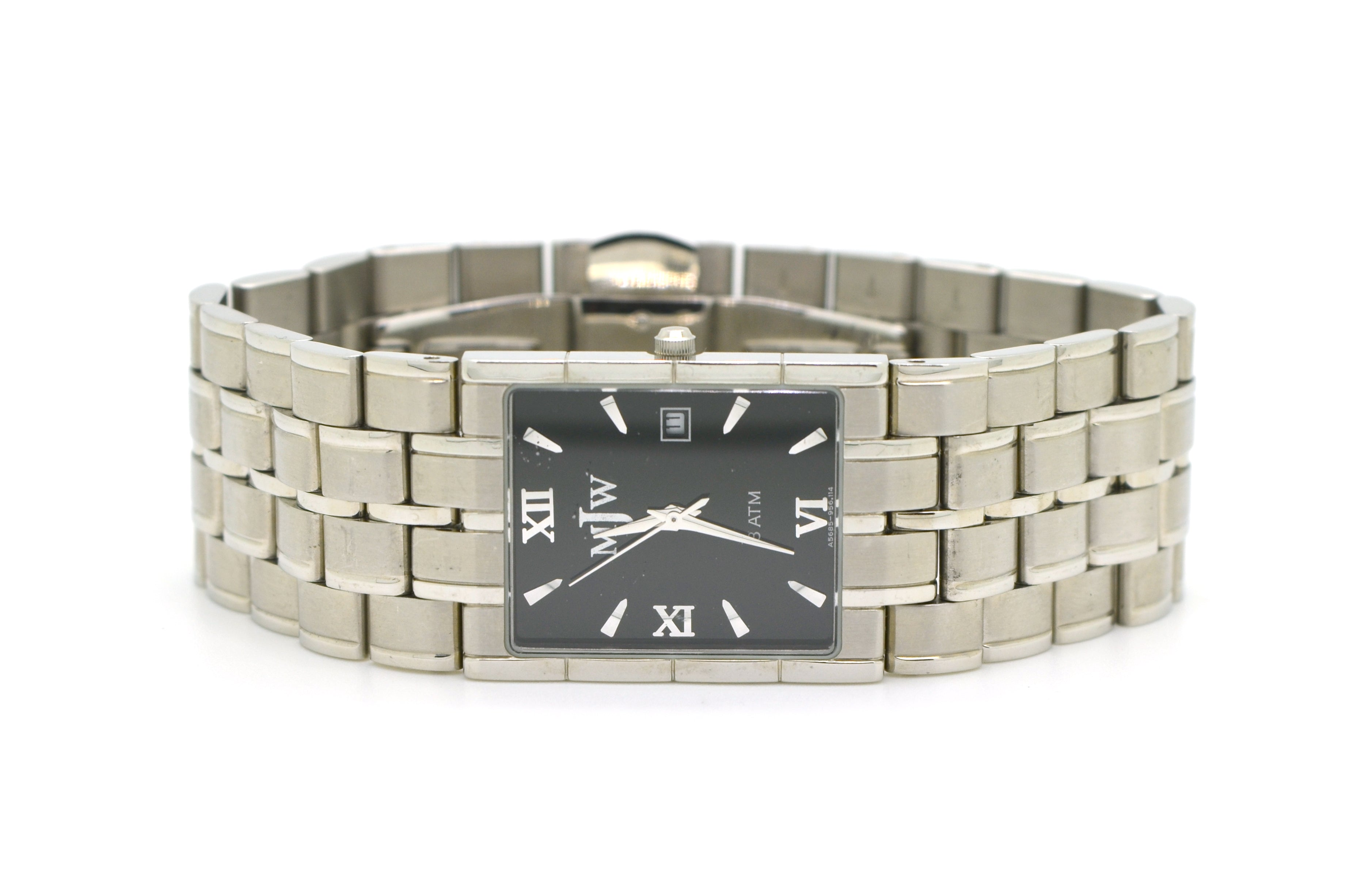 MJW Stainless Steel 3 ATM Quartz Date Watch - Black Dial - 956.114 - 5785