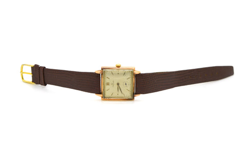 Vintage 14k Rose Gold Square Omega Wrist Watch - 17 Jewels - Brown Lizard Strap
