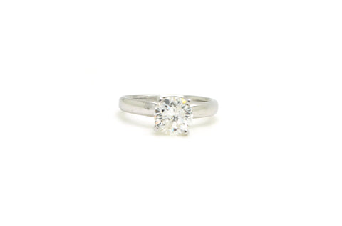 14k White Gold Round Diamond Solitaire Engagement Ring - 1.60 ct. - Size 5.25