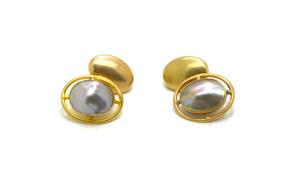 Vintage 10k Yellow Gold Oval Cufflinks with Mother Of Pearl Center - 3.0 dwt