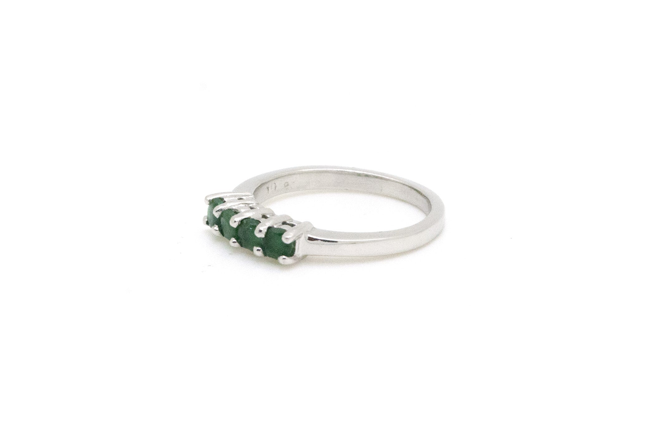 Platinum Four-Stone Round Green Emerald Band Ring - .30 ct. total - Size 5.5