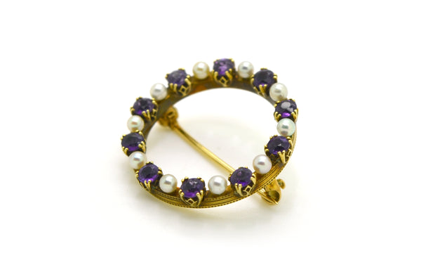 Vintage 14k Yellow Gold Amethyst & Seed Pearl Circle Brooch Pin - 1.20 ct. total