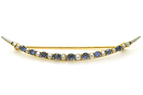 Vintage 14k Yellow Gold Sapphire & Seed Pearl Crescent Brooch Pin - .75 ct. tw