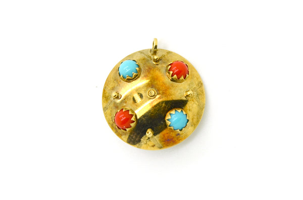 14k Yellow Gold Reversable Roulette Charm Pendant with Gemstones and Enamel