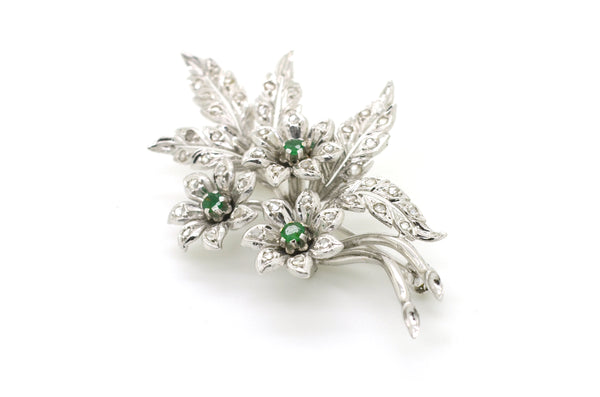 Vintage 18k White Gold Floral Emerald & Rose Cut Diamond Pin Brooch - .80 ct. tw