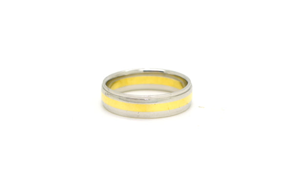 Platinum & 18k Yellow Gold 5.8 mm Comfort Fit Wedding Band Ring - Size 9.5