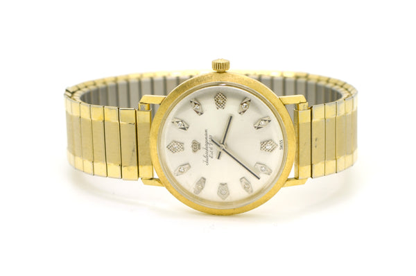 Vintage 14k Yellow Gold Jules Jurgensen Watch with Diamonds - Stretch Bracelet