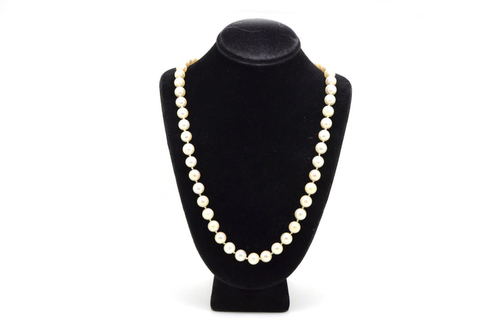14k Yellow Gold White 7 mm Pearl Strand Necklace with Clasp - 18.25 in. length