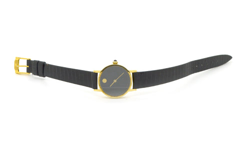 14k Yellow Gold Movado Mechanical Zenith Watch - 17 Jewels - Black Strap