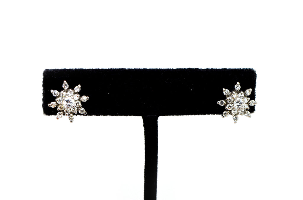 18k White Gold Round Diamond Cluster Snowflake Stud Earrings - 1.50 ct. total