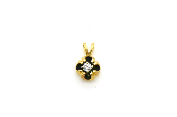 Vintage 14k Yellow Gold Round Diamond Solitaire Pendant - .15 ct. - 1.2 dwt