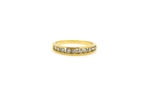 14k Yellow Gold Channel-Set Round Diamond Band Ring - .80 ct. total - Size 7