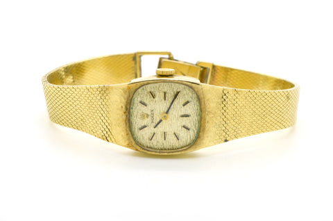 Vintage Ladies 14k Yellow Gold Rolex Watch with Woven Bracelet #8133 - 18 Jewels