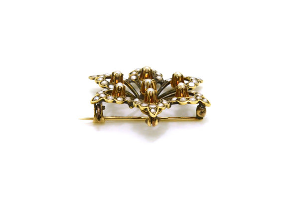 Vintage 14k Yellow Gold Round White Seed Pearl Star Shaped Brooch Pin Pendant