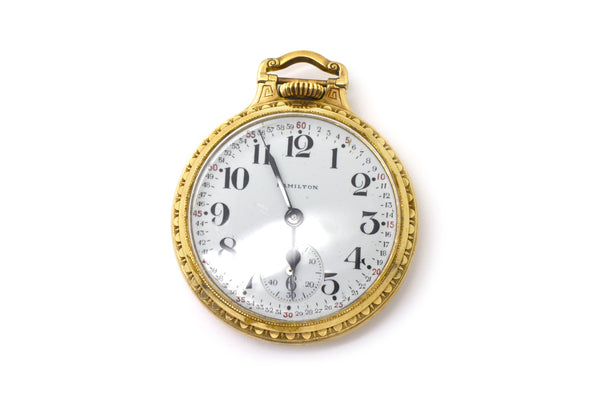 Vintage 10k Yellow Gold Filled Hamilton Watch Co. 21 Jewels Pocket Watch - 50 mm