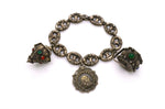 Antique 800 Silver Peruzzi Italian Deco Etruscan Charm Bracelet with Gemstones