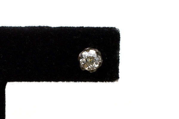 Handmade 14k Yellow Gold Old Euro Cut Diamond Stud Earrings - .91 ct. total