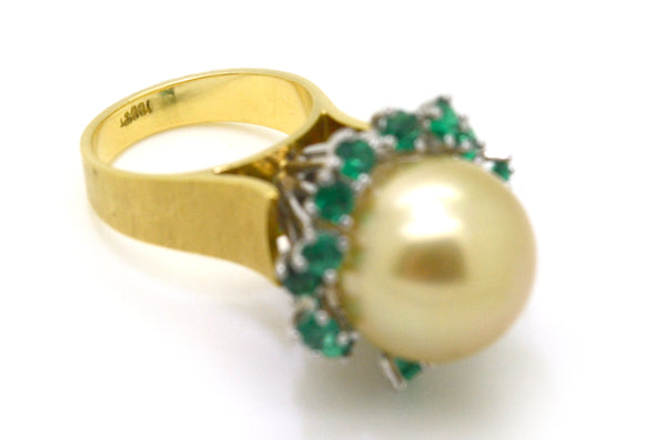 Vintage 14k Yellow & White Gold Emerald & Pearl Ring -1.20 ct. total - Size 6.5