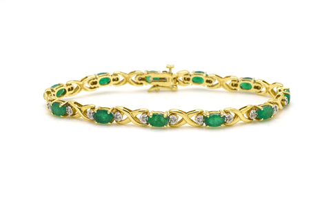 14k Yellow Gold Diamond & Emerald Tennis Bracelet - 4.65 ct. total - 7 in.
