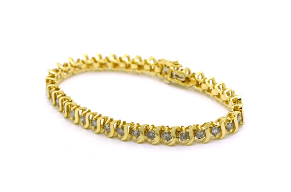 14k Yellow Gold Round Diamond Link Tennis Bracelet - 3.00 ct. total - 6.75 in.