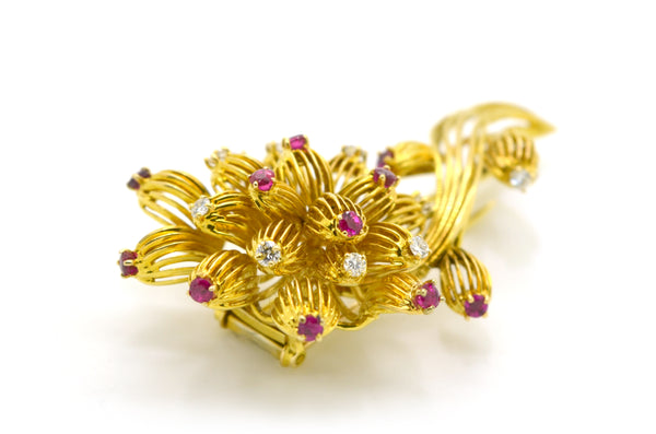 Vintage 18k Yellow Gold Diamond & Ruby Stylized Flower Pin Brooch - 1.20 ct. tw