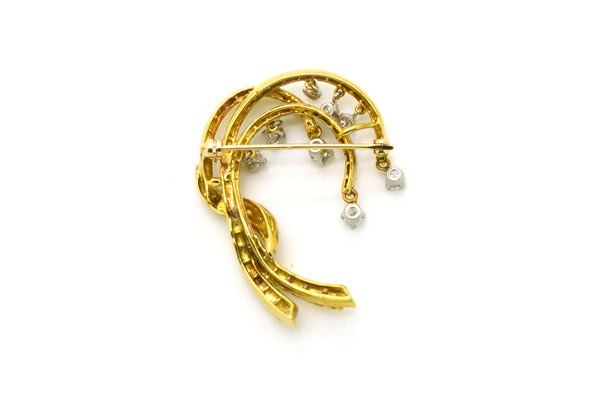 Vintage 14k Yellow & White Gold Brooch with Dangling Diamonds - .60 ct. total