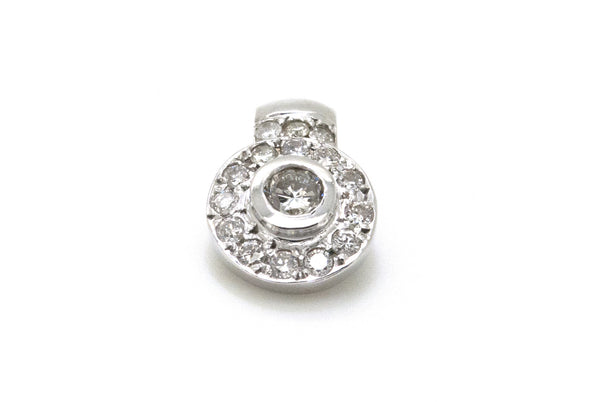14k White Gold Diamond Halo Cluster Pendant - .60 ct. total - G / SI1 - 1.7 dwt