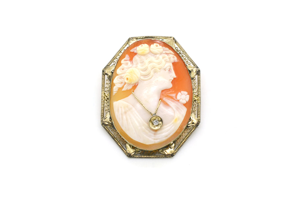 Vintage 14k White Gold Woman Shell Cameo Diamond Pendant Brooch - 45 by 36 mm