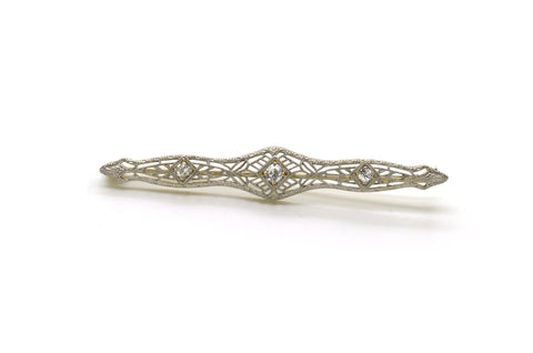 Vintage Art Deco 14k White Gold Diamond Filagree Bar Brooch Pin - .20 ct. total