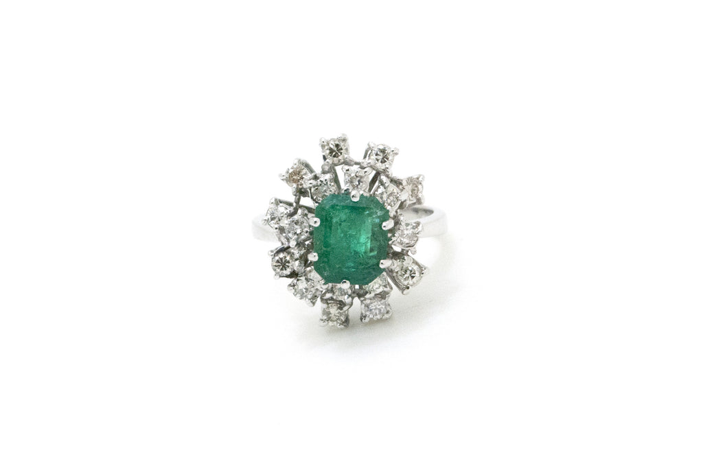 Vintage 18k White Gold Emerald & Diamond Cluster Ring - 3.00 ct. tw - Size 6.5