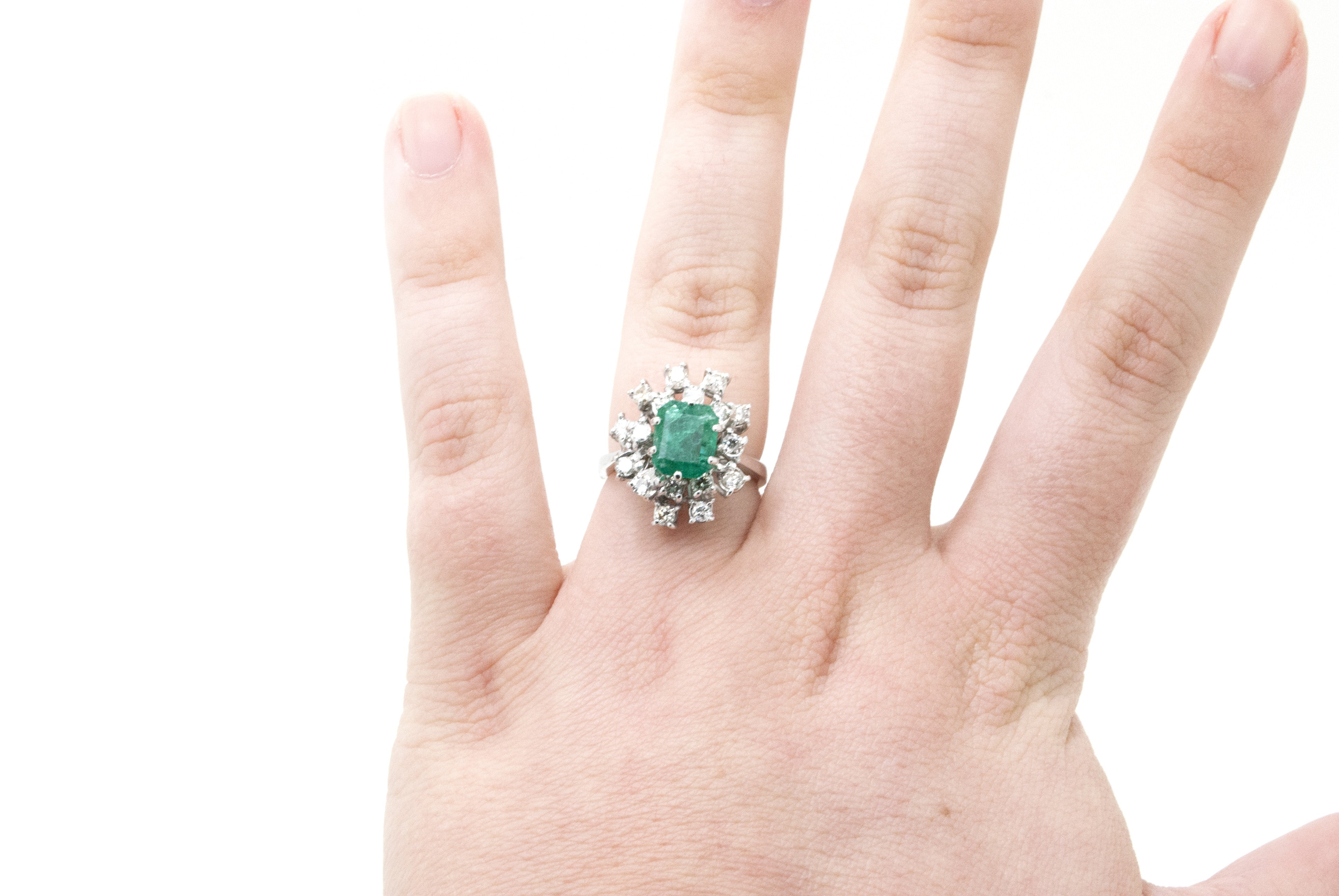Vintage 18k White Gold Emerald & Diamond Cluster Ring - 3.00 ct. tw ...