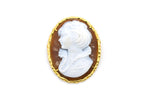Vintage 14k Yellow Gold Woman Stone Cameo Pendant Brooch - 49 mm by 37 mm
