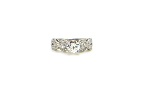 Platinum Round Diamond Engagement Ring - .93 ct. total - J / SI1 GIA - Size 6