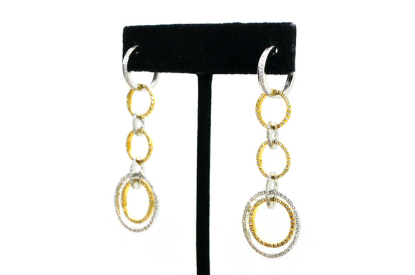 14k White and Yellow Gold Diamond Loop Circle Drop Dangle Earrings - 1.50 ct. tw