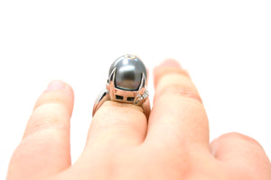 Vintage Platinum Diamond & Black Pearl Cocktail Ring - .50 ct. total - Size 4.5
