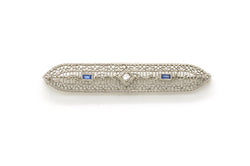 Vintage Art Deco 14k White Gold Diamond & Sapphire Brooch Pin - .15 ct. total