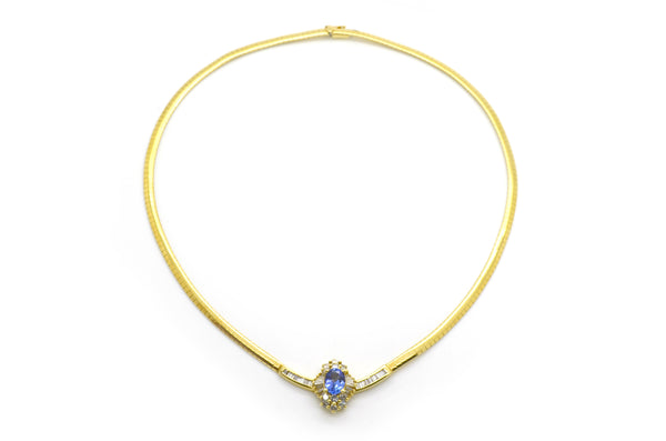 14k Yellow Gold Tanzanite & Diamond Snake Chain Necklace - 3.70 ct tw - 17.5 in.
