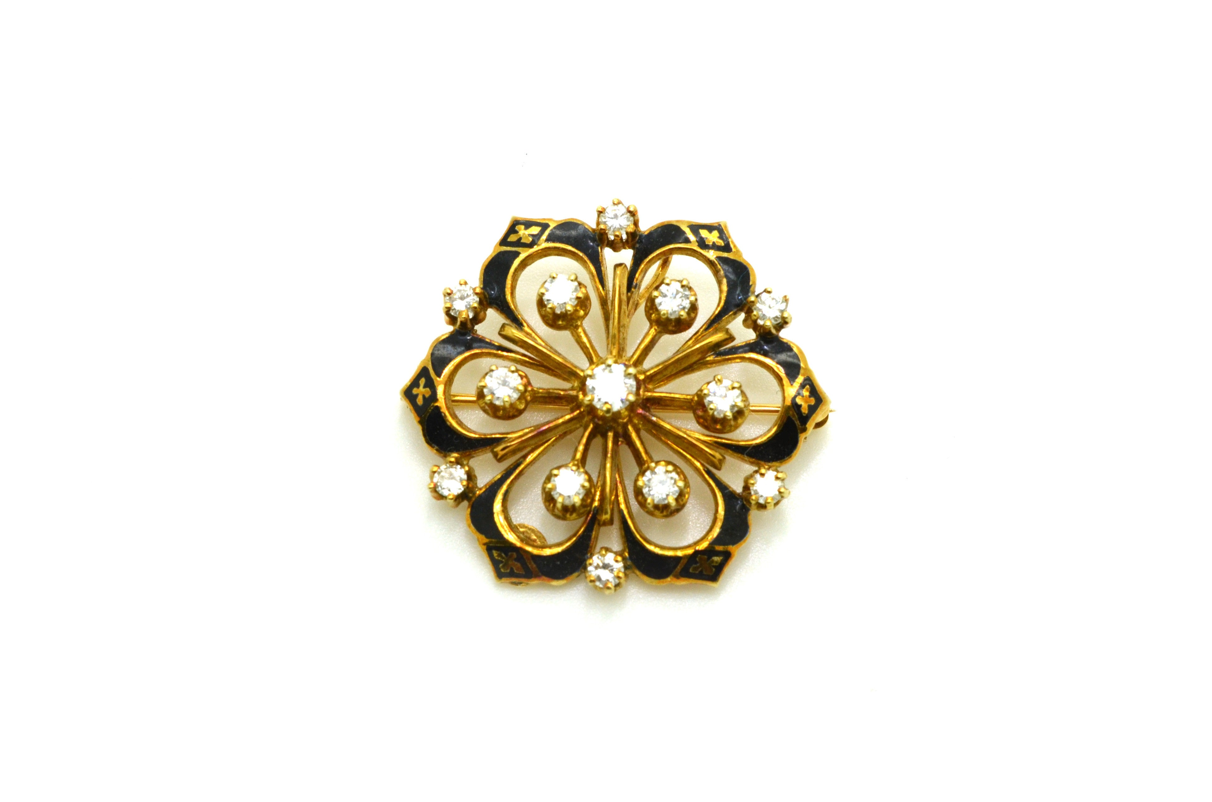 Victorian 14k Yellow Gold Diamond Star Pin Brooch with Black Enamel - .75 ct. tw