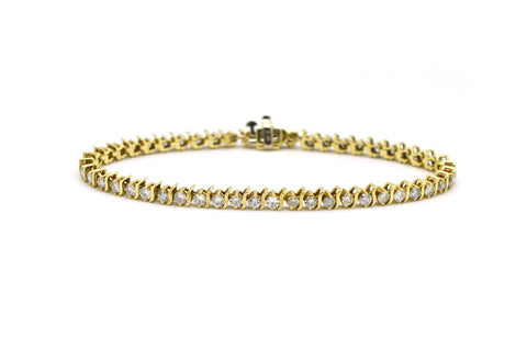 14k Yellow Gold Round Diamond Link Tennis Bracelet - 4.00 ct. total - 7.75 in.