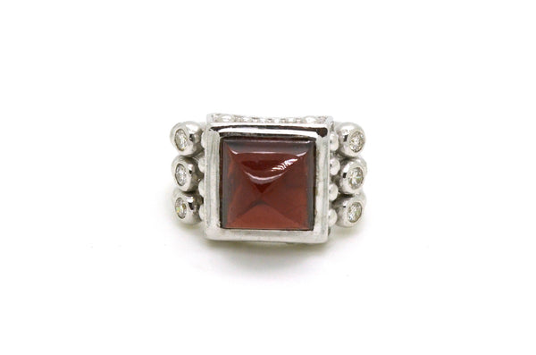 JJ Marco 14k White Gold Garnet & Diamond Cocktail Ring - 7.40 ct. tw - Size 5.5