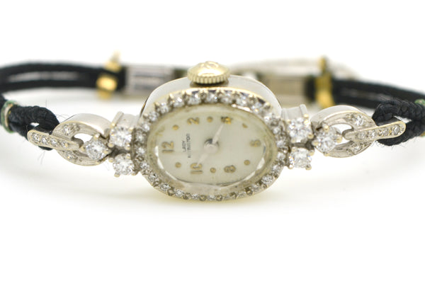 Vintage Ladies 14k White Gold Hamilton Diamond Watch - Black Strap - .50 ct. tw