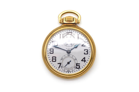 Vintage 10k Yellow Gold Filled B. W. Raymond 21 Jewels Pocket Watch - 52 mm
