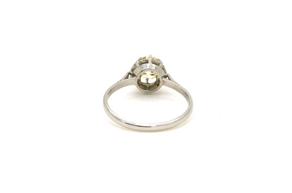 Vintage Platinum Old Euro Diamond Solitaire Engagement Ring - .80 ct. - Size 7