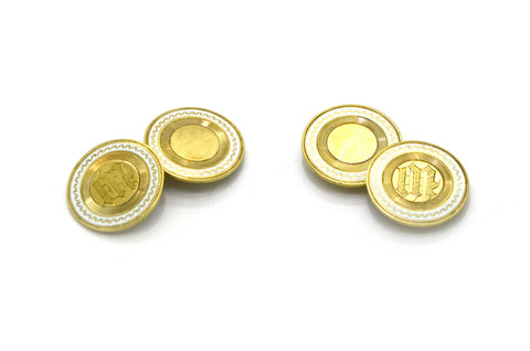 Vintage 14k Yellow Gold Round Monogramed Cufflinks with White Enamel - 6.3 dwt