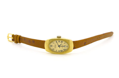 Vintage 18k Yellow Gold Jules Jurgensen Automatic Date Watch - 4404 Brown Strap