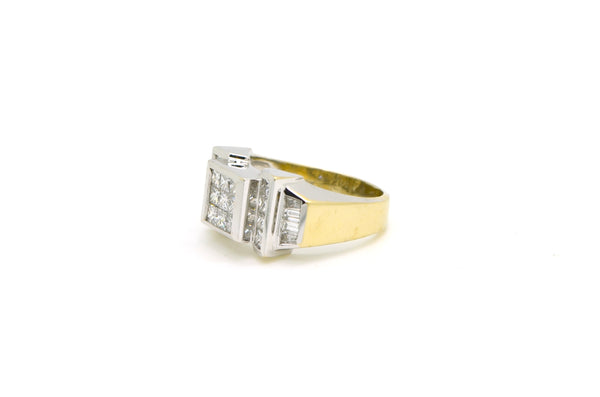 18k White Gold Princess Baguette Diamond Cluster Ring - 1.00 ct. tw - Size 7.5